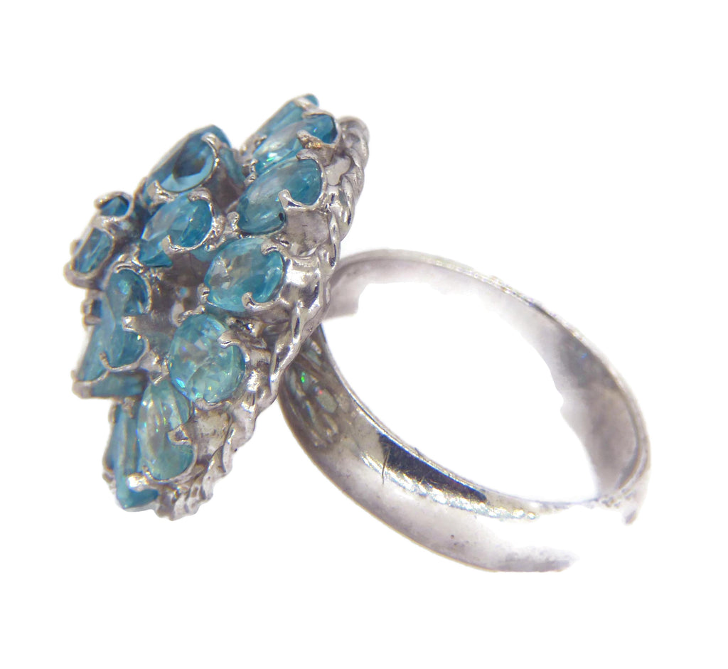 Blue Zircon Sterling Silver Cocktail Ring - Vintage Lane Jewelry