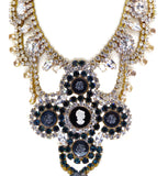 Bijoux MG Black Cameo Necklace Earring Set - Vintage Lane Jewelry