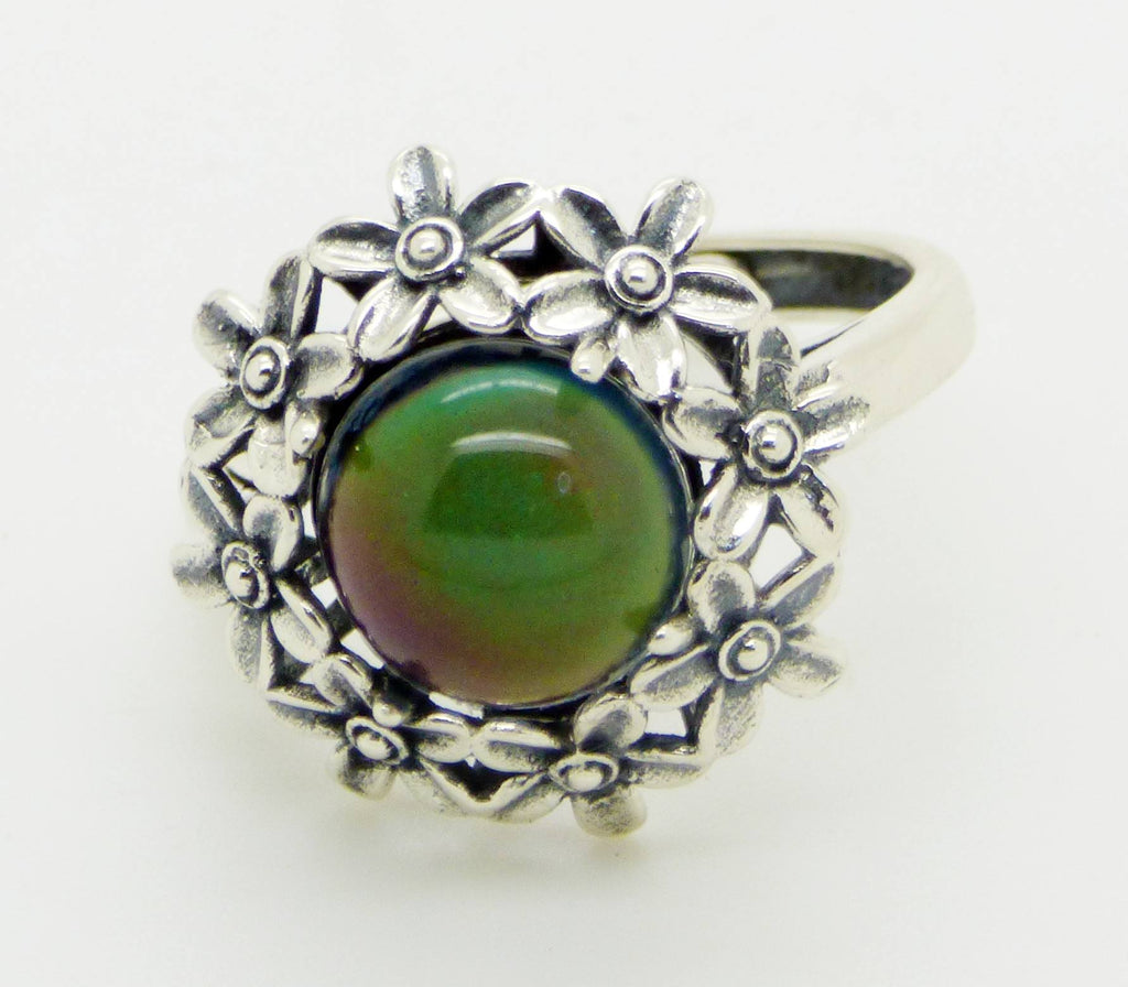 Sterling Silver Flowers 10mm Mood Stone Ring, adjustable - Vintage Lane Jewelry