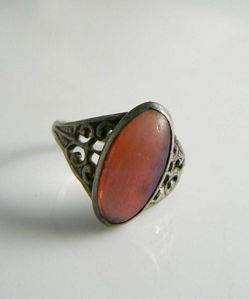 Antique Art Nouveau Sterling Silver Dragons Breath Filigree Ring - Vintage Lane Jewelry