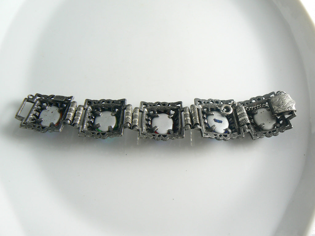 Judy Lee Chunky Carnival Glass Dragon's Breath Bracelet - Vintage Lane Jewelry