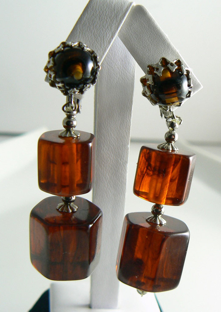 Castlecliff Root Beer Bakelite Earrings - Vintage Lane Jewelry