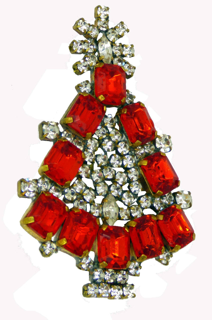 Czech Glass Red Rhinestone Husar D. Signed Christmas Tree Pin, X-mas pin, Holiday Brooch - Vintage Lane Jewelry