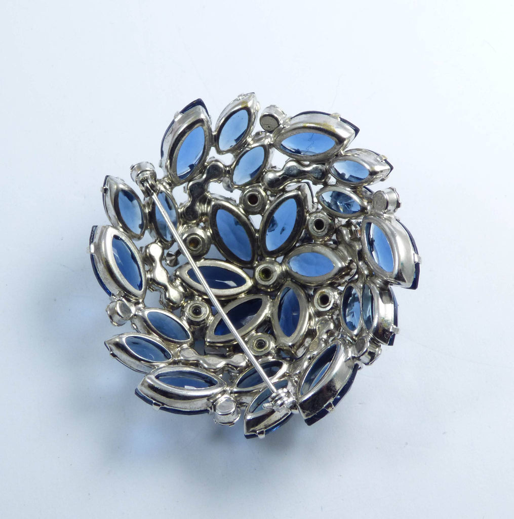 Juliana High Domed Blue and AB Rhinestone Large Rhodium Plated Brooch - Vintage Lane Jewelry
