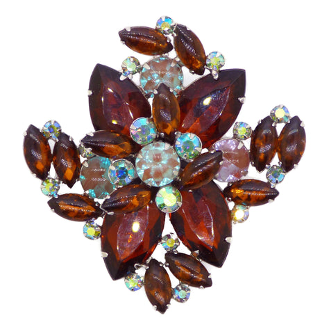 Vintage High End Faux Pearl Art Glass Rhinestone Flower Brooch