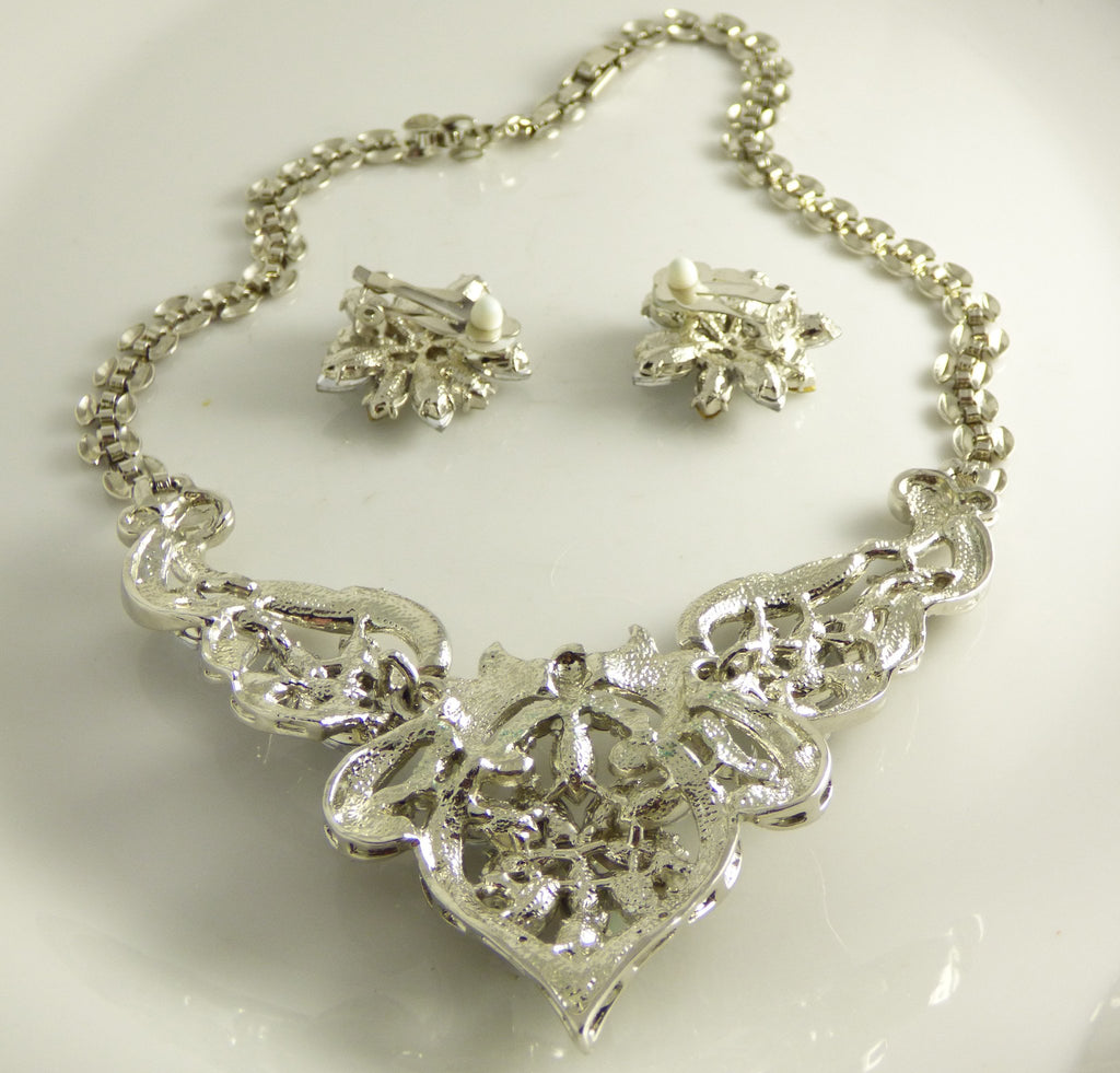 Sparkling Ice and AB Rhinestone Necklace Clip Earring Set - Vintage Lane Jewelry