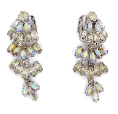 Miriam Haskell Baroque Glass Pearl Clip Earrings