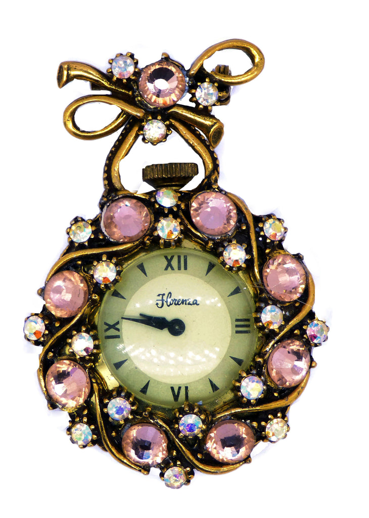 Florenza Rhinestone Watch Pendant Brooch - Vintage Lane Jewelry