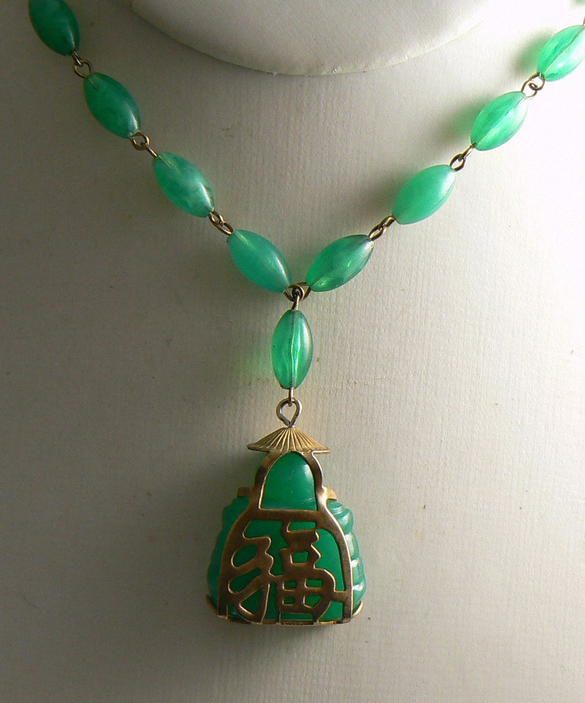 Vintage Jade Green Colored Bead Buddha Pendant Necklace - Vintage Lane Jewelry