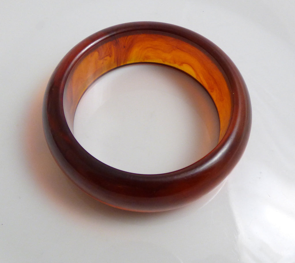 Prystal Root Beer Swirl Bakelite Bangle - Vintage Lane Jewelry