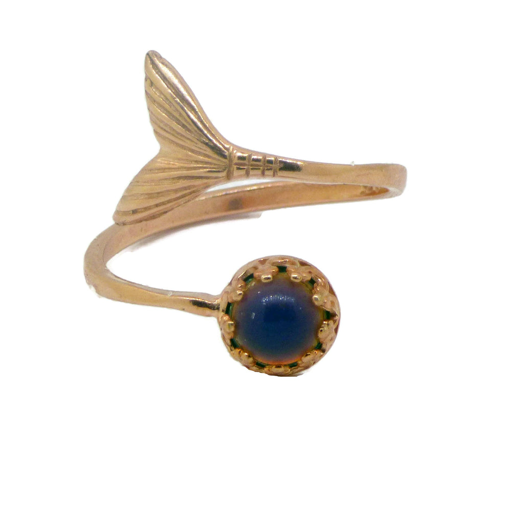 Rose Vermeil Adjustable Mermaid Tail Mood Ring - Vintage Lane Jewelry