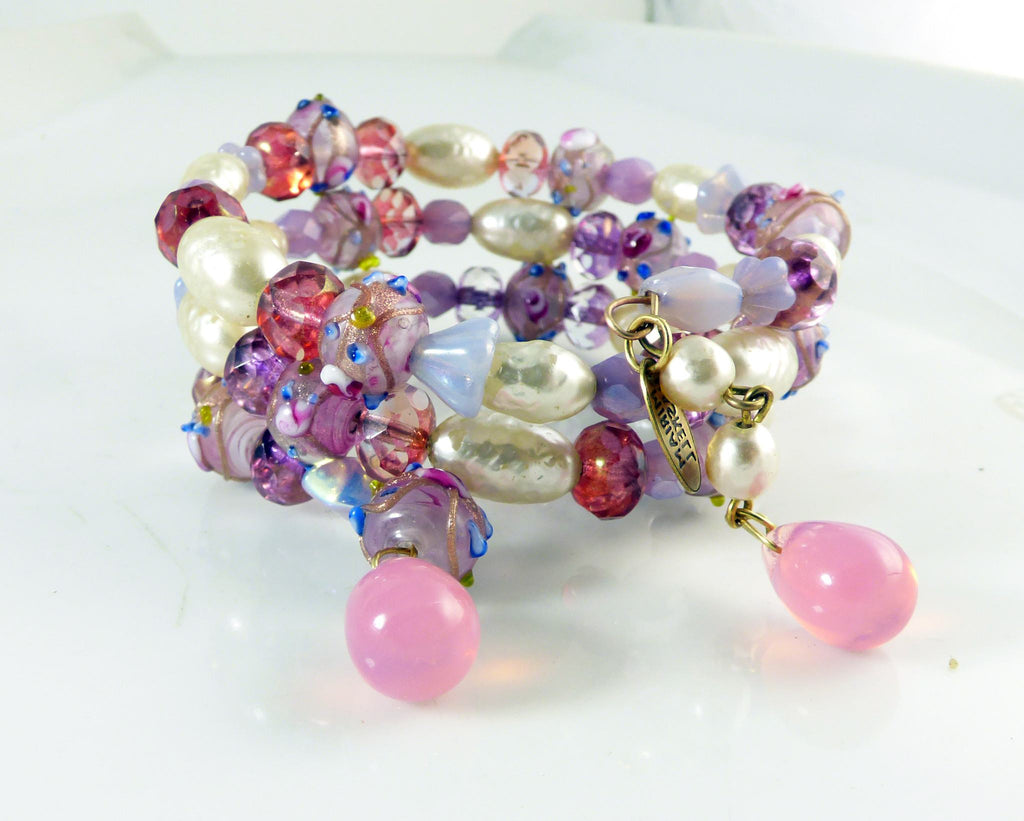 Vintage Miriam Haskell Glass Pearl, Purple and pink glass beads, wedding cake beads Memory Coil Bracelet - Vintage Lane Jewelry