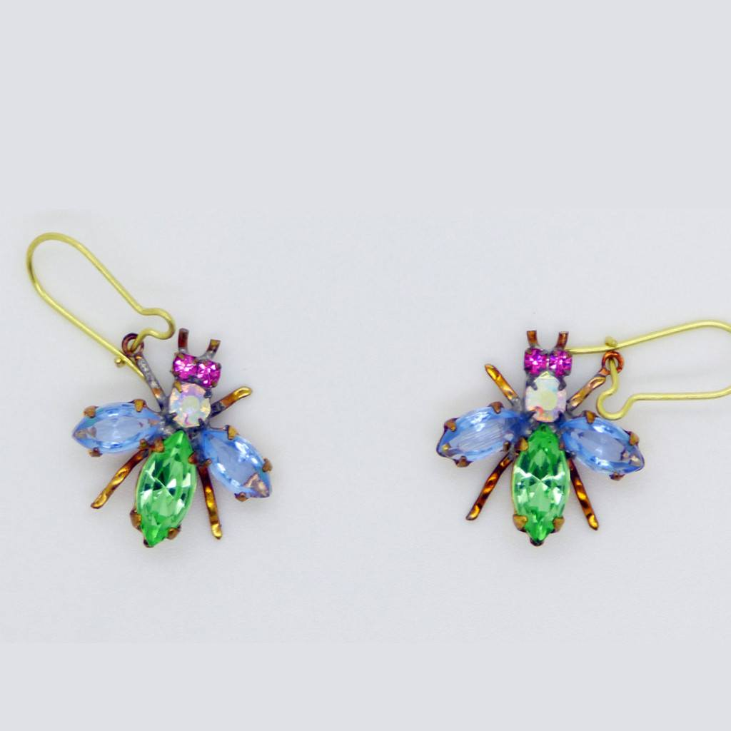 Czech Glass Rhinestone Fly Earrings, Green and Lavender - Vintage Lane Jewelry