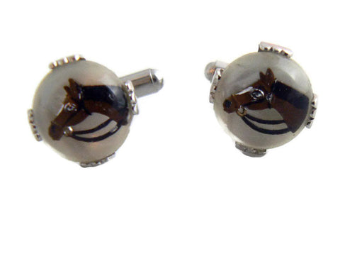 Vintage White Glass and Rhinestone Cuff Links Cufflinks