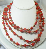 Vintage Miriam Haskell 4 Strand Red and Gold Glass Bead Necklace - Vintage Lane Jewelry
