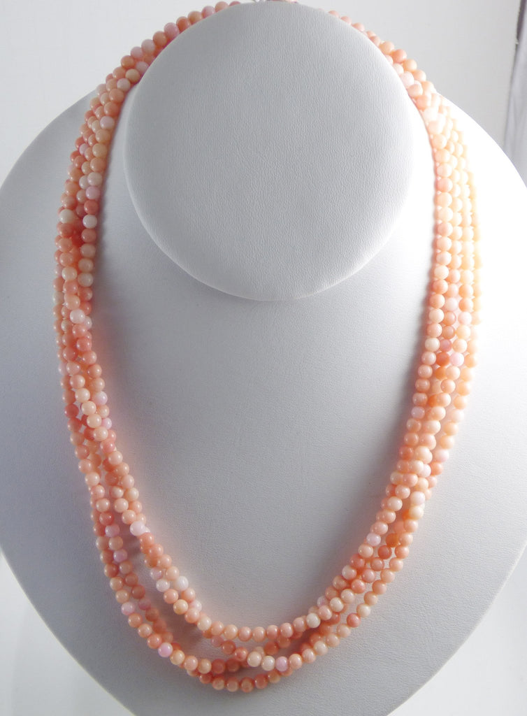 Angel Skin Coral Natural 4 Strand Necklace with Carved Coral Flower Clasp - Vintage Lane Jewelry