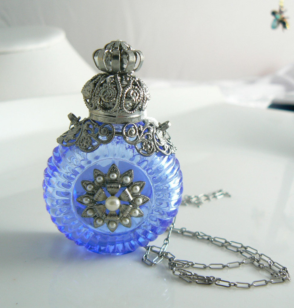 Vintage Czech Glass Handmade Perfume Bottle Necklace - Vintage Lane Jewelry