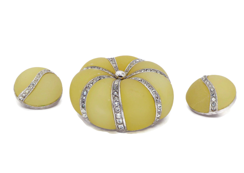 Hattie Carnegie Pale Yellow Glass Demi Parure - Vintage Lane Jewelry