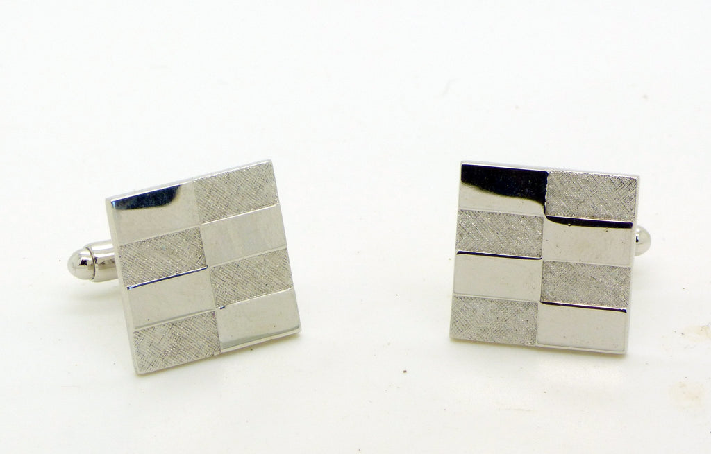 Checkerboard Silver Tone Cufflinks and Tie Tack Set in Original Box, Signed Shield. - Vintage Lane Jewelry