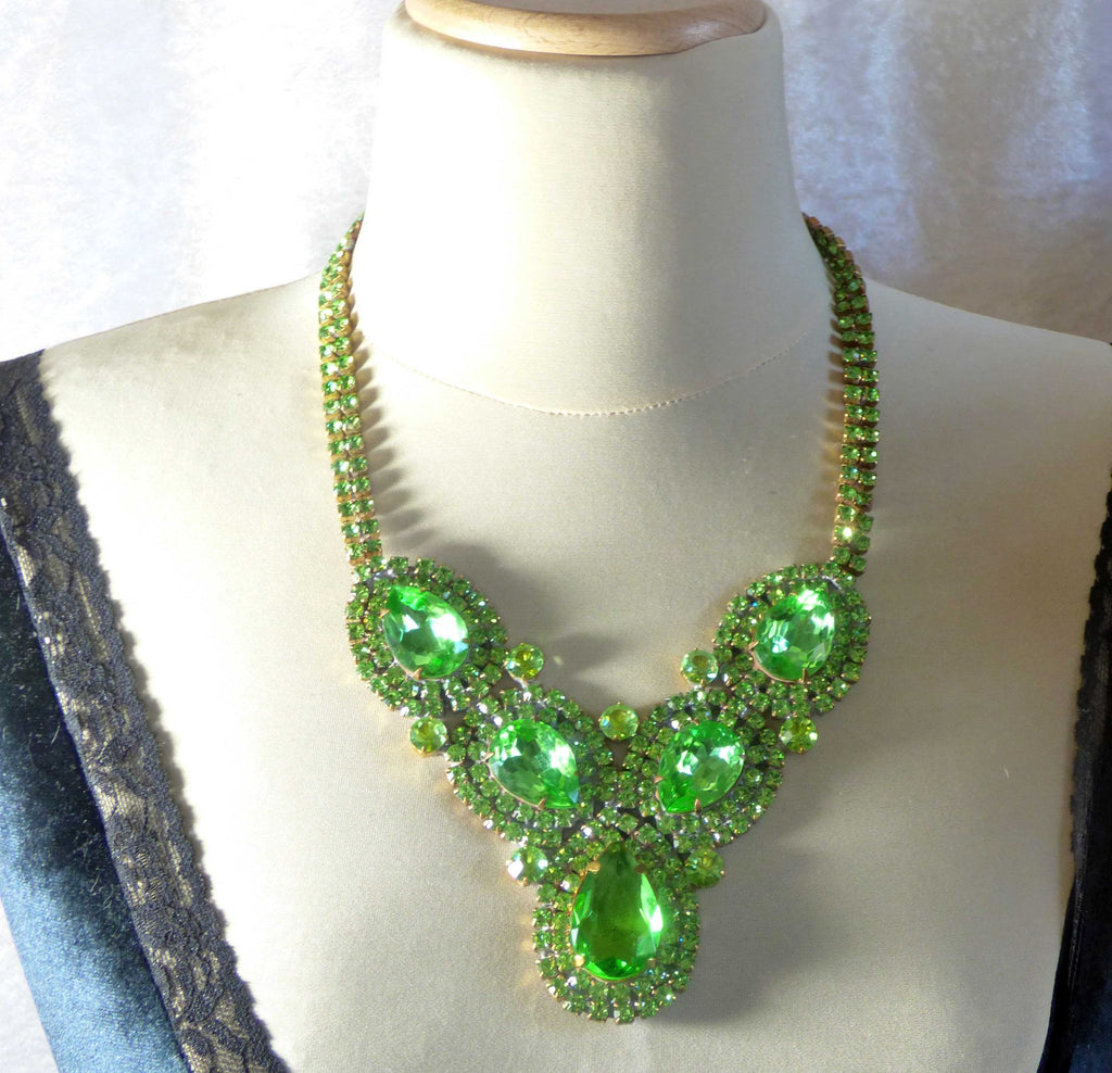 Bright Green Czech Glass Rhinestone Statement Necklace and Matching Clip Earrings - Vintage Lane Jewelry