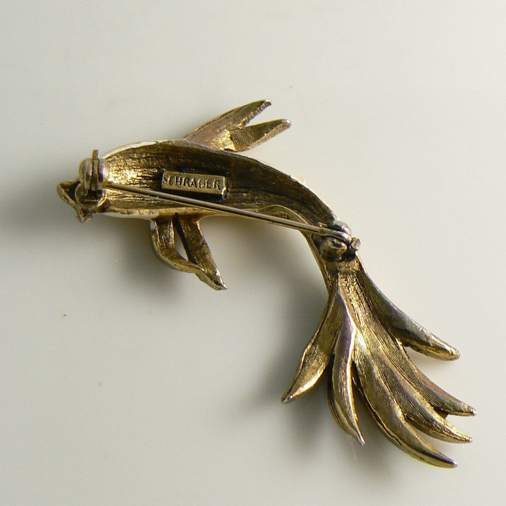 Vintage Schrager Cream Enamel & Rhinestone Fish Pin Brooch - Vintage Lane Jewelry