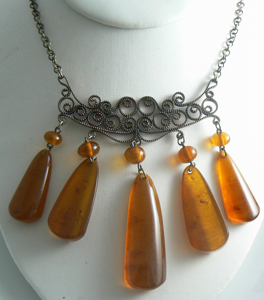 Amber Colored Lucite Dangle Filigree Necklace - Vintage Lane Jewelry