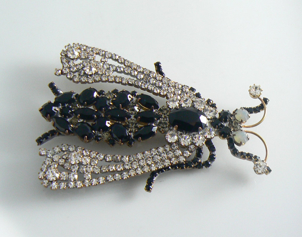 Large Black And Clear Czech Rhinestone Fly Brooch - Vintage Lane Jewelry