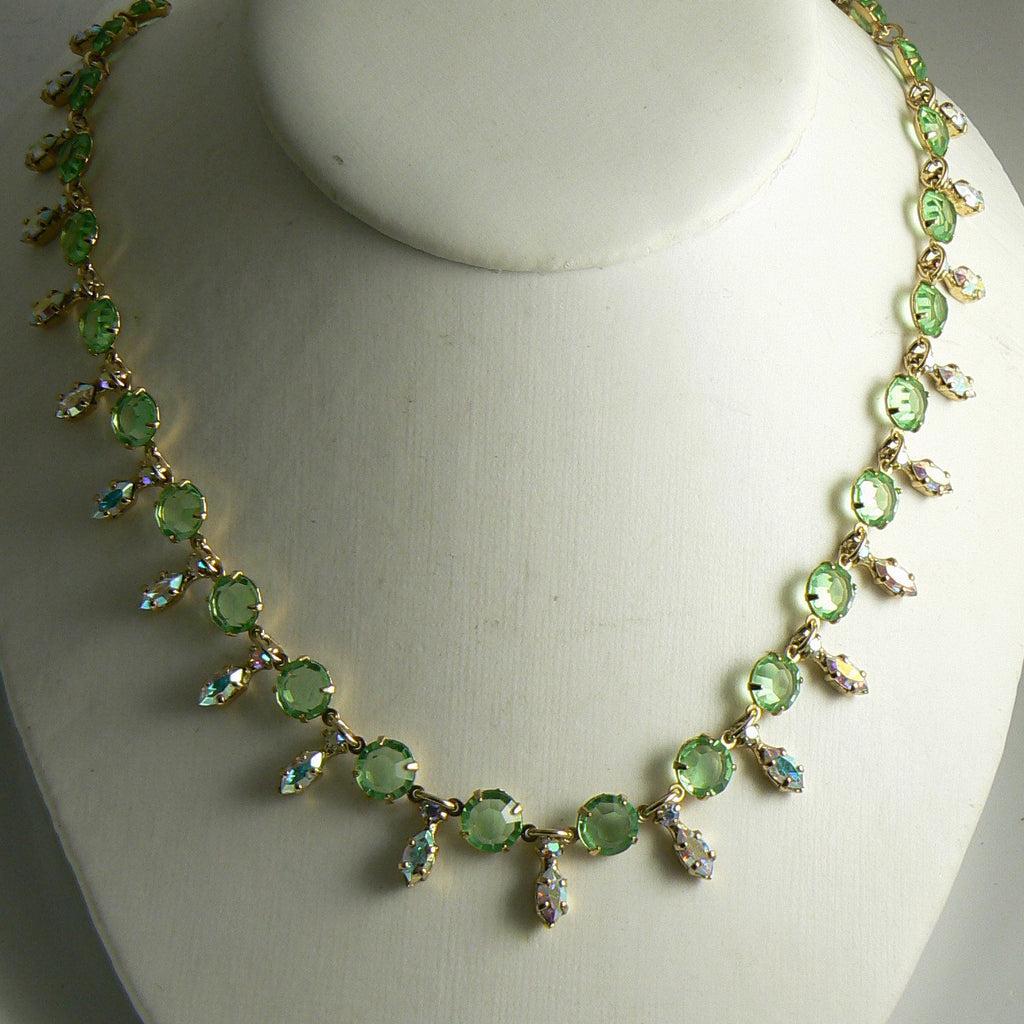 Stunning Art Deco Open Back Green Citrine Glass & AB Rhinestone Necklace - Vintage Lane Jewelry