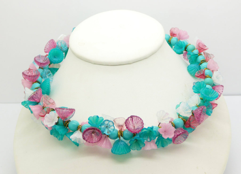 Turquoise Beaded Glass Flower Necklace/Choker - Vintage Lane Jewelry