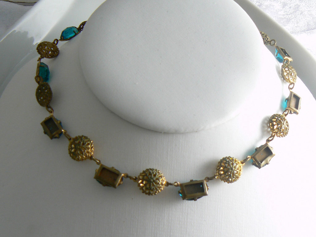Vintage Art Deco Brass Filigree Choker - Vintage Lane Jewelry