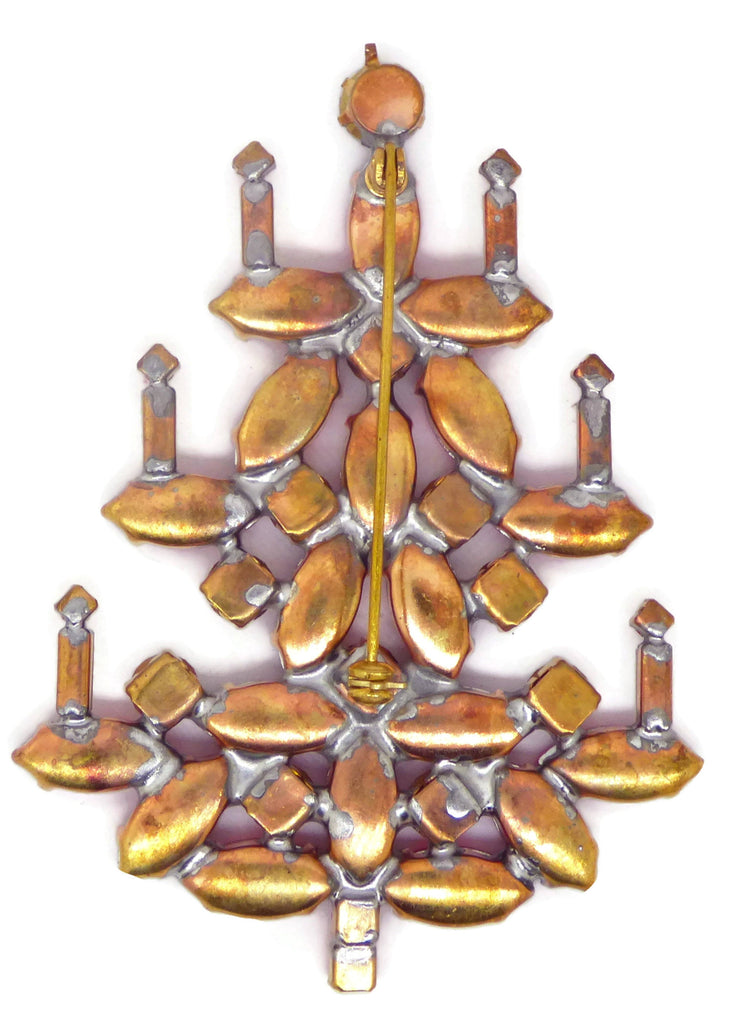 Rhinestone Navette Christmas Tree Brooch - Vintage Lane Jewelry