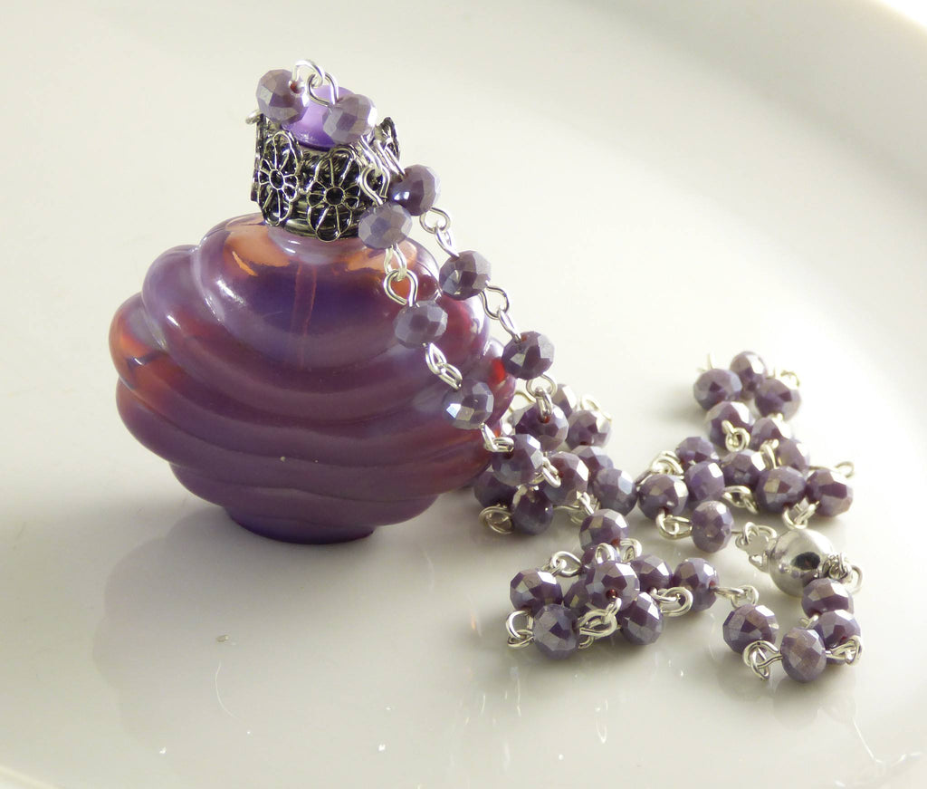 Vintage Czech Glass Perfume Bottle Necklace, Opalescent Lavender, Purple Rhinestones - Vintage Lane Jewelry