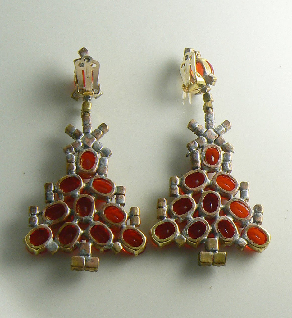 Czech Glass Red and Borealis Rhinestone Christmas Tree Clip Earrings - Vintage Lane Jewelry