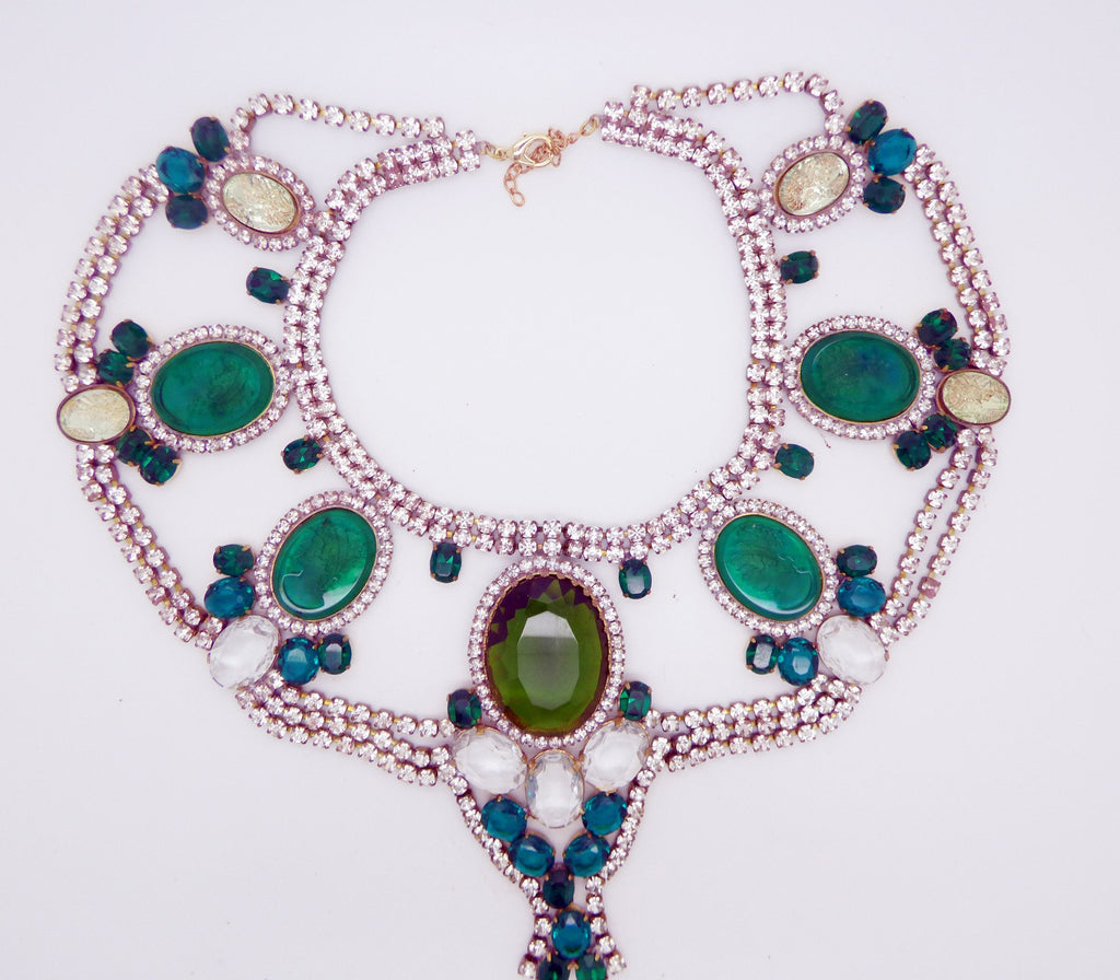 Czech Statement Rhinestone Green Glass Cameo Necklace - Vintage Lane Jewelry