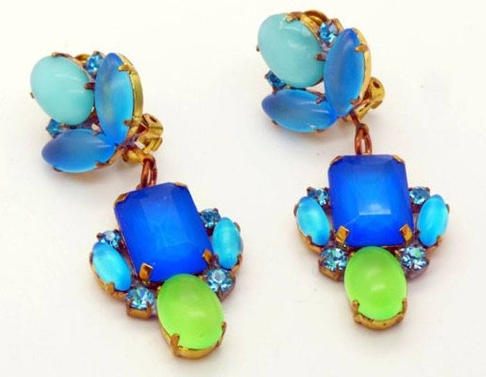 Czech Blue and Green Neon Clip Earrings - Vintage Lane Jewelry