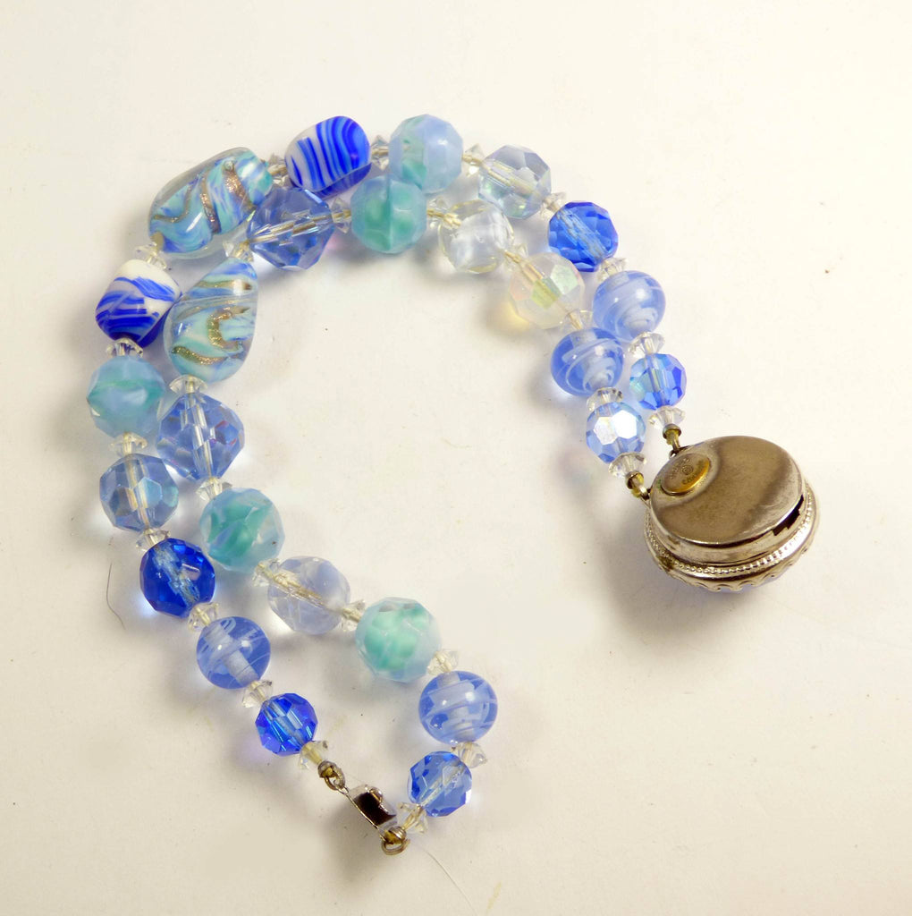 Vintage Alice Caviness Blue Art Glass Double Strand Bracelet - Vintage Lane Jewelry