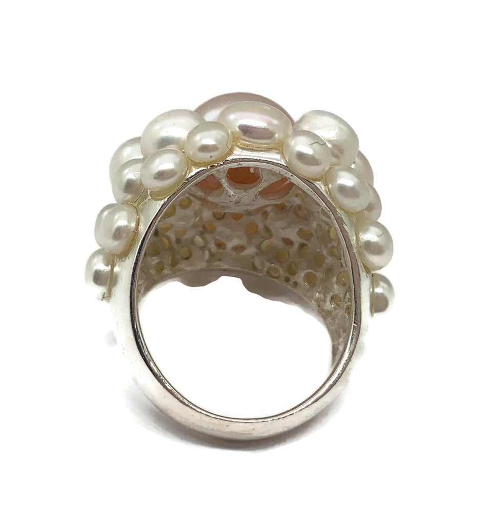 Peach Freshwater Pearl Cocktail Ring - Vintage Lane Jewelry