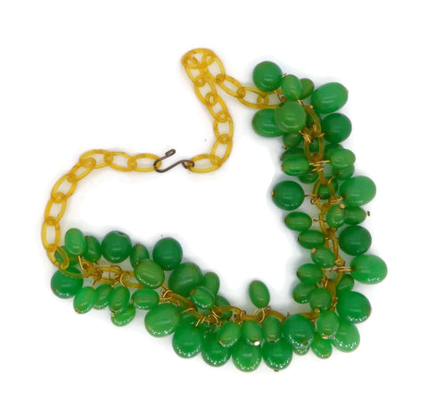 Czech Vaseline Uranium Glass Flower Necklace