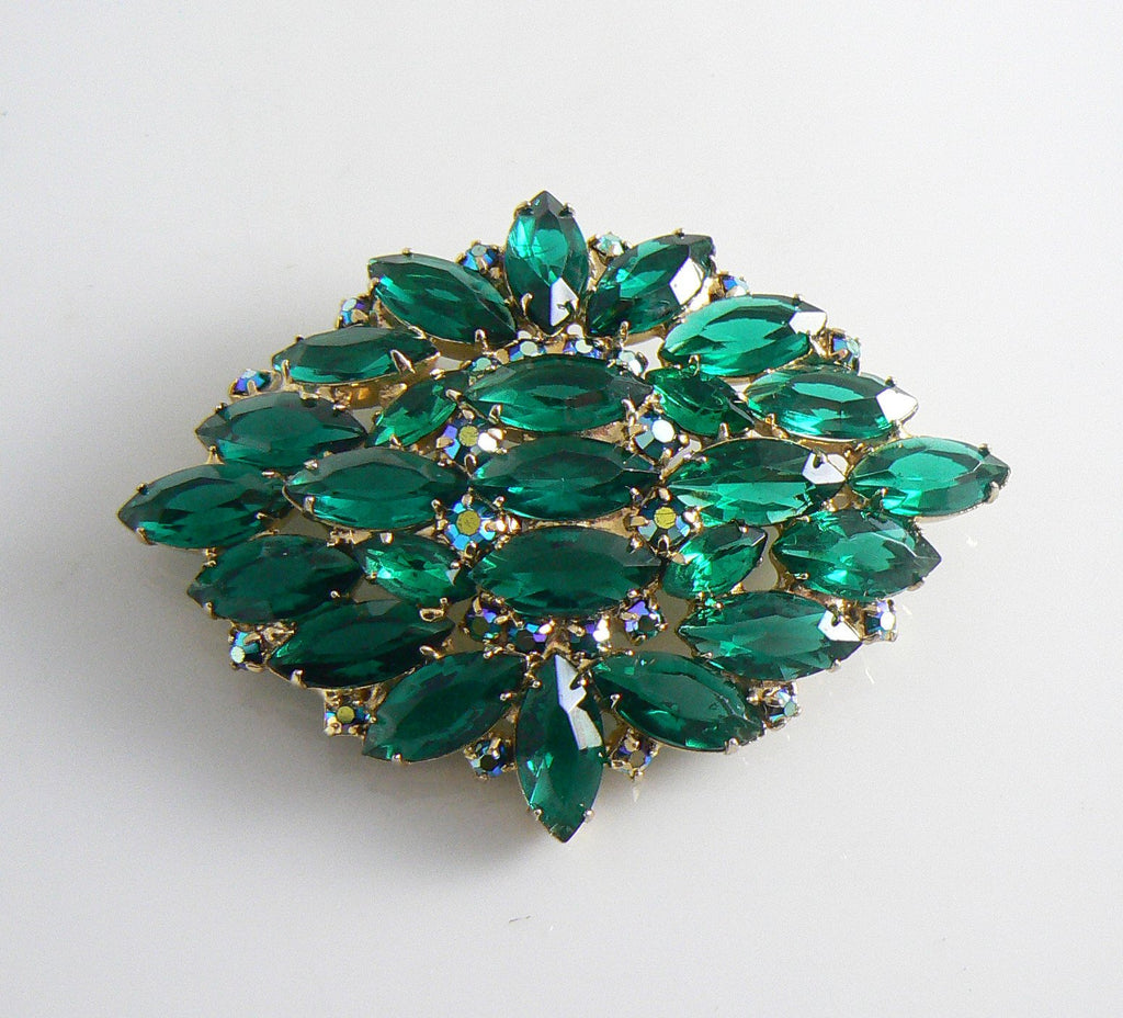 Vintage Juliana Teal Green And Borealis Rhinestone Brooch - Vintage Lane Jewelry