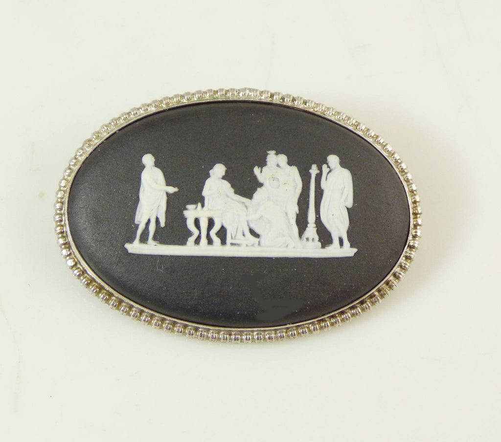 Wedgwood Black Jasperware Oval Pin - Vintage Lane Jewelry