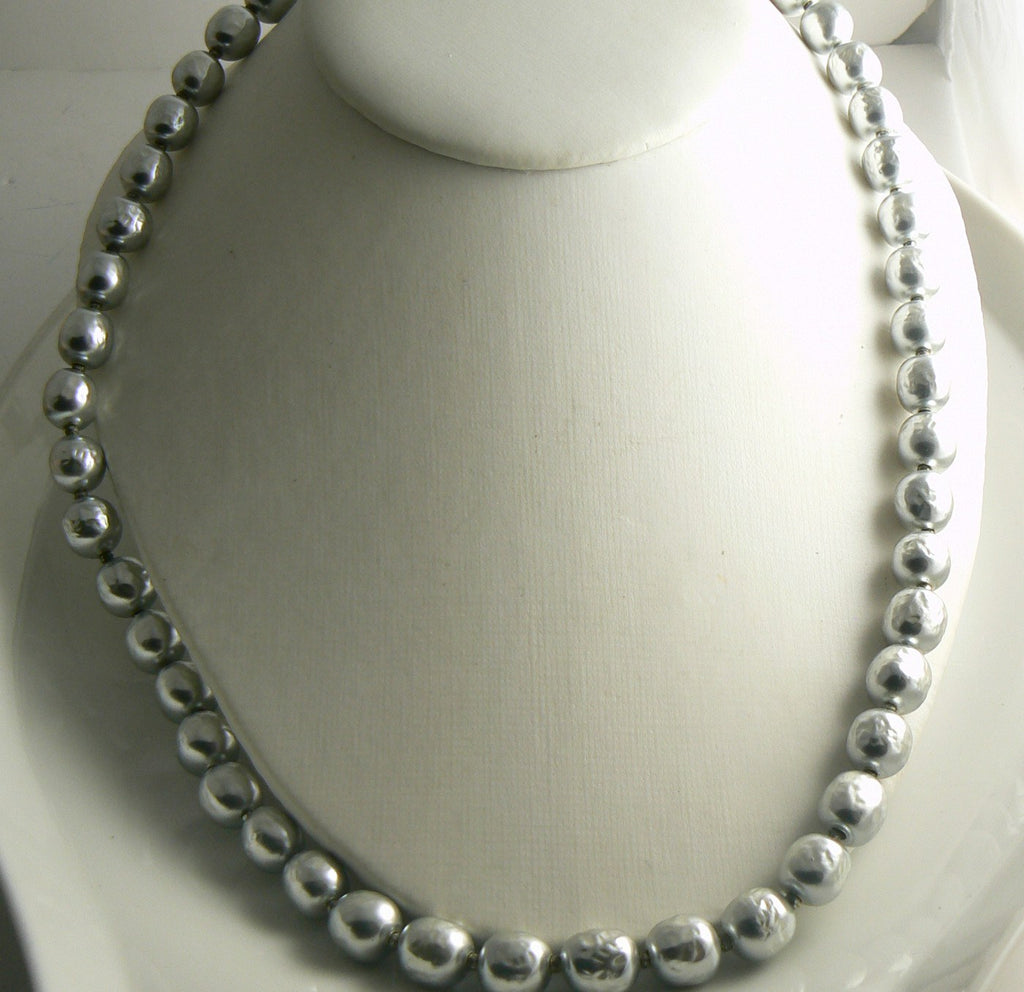 Miriam Haskell Silver Baroque Glass Pearl Necklace - Vintage Lane Jewelry