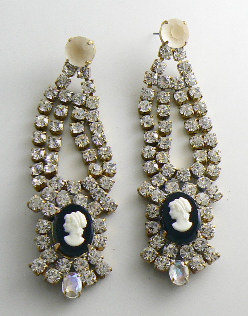 Czech Glass Cameo Rhinestone Pierced Earrings, Black and White, Bijoux MG - Vintage Lane Jewelry