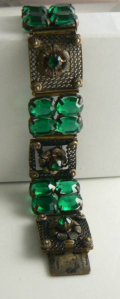 Art Deco Style Faceted Green Glass in Brass Filigree Linked Bracelet - Vintage Lane Jewelry