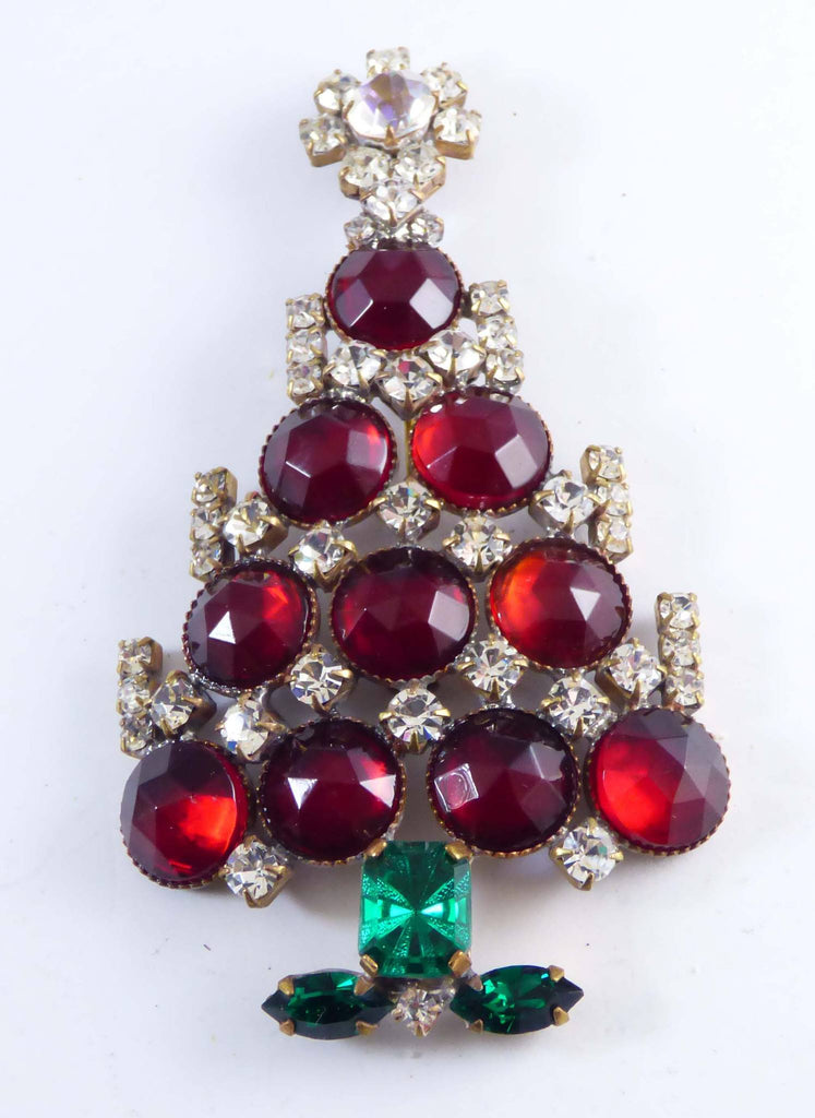 Czech Glass Red Round Glass and Rhinestone Husar D. Christmas Tree Pin, X-mas pin, Holiday Brooch - Vintage Lane Jewelry