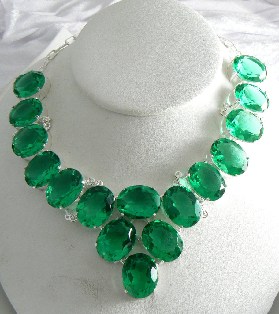 Sterling Silver Green Quartz Necklace - Vintage Lane Jewelry
