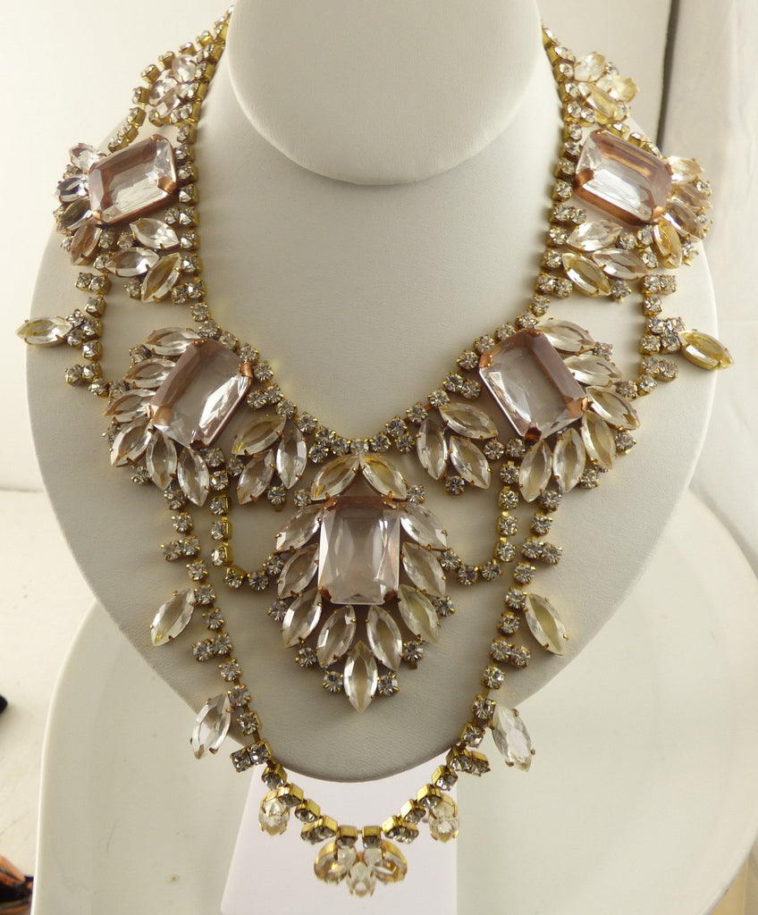 Czech Glass Huge Statement Rhinestone Necklace, Husar D. - Vintage Lane Jewelry