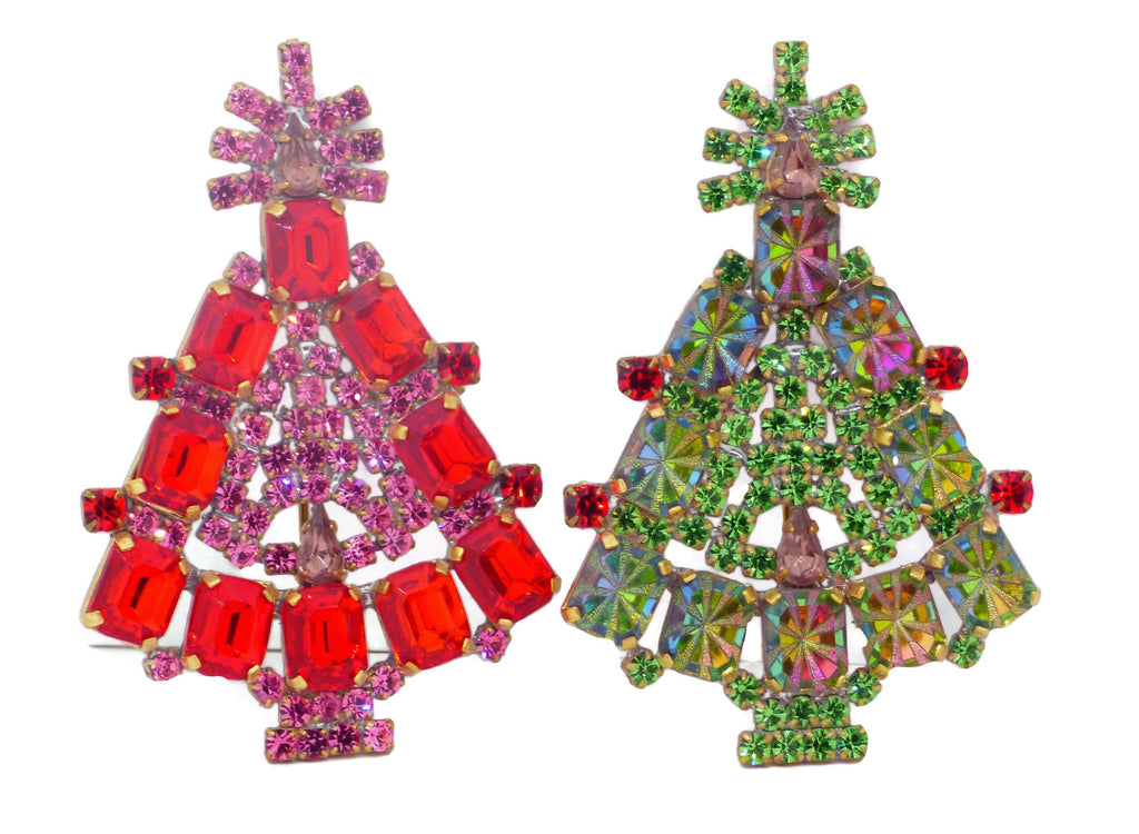 Christmas Trees Pins Red and Green - Vintage Lane Jewelry