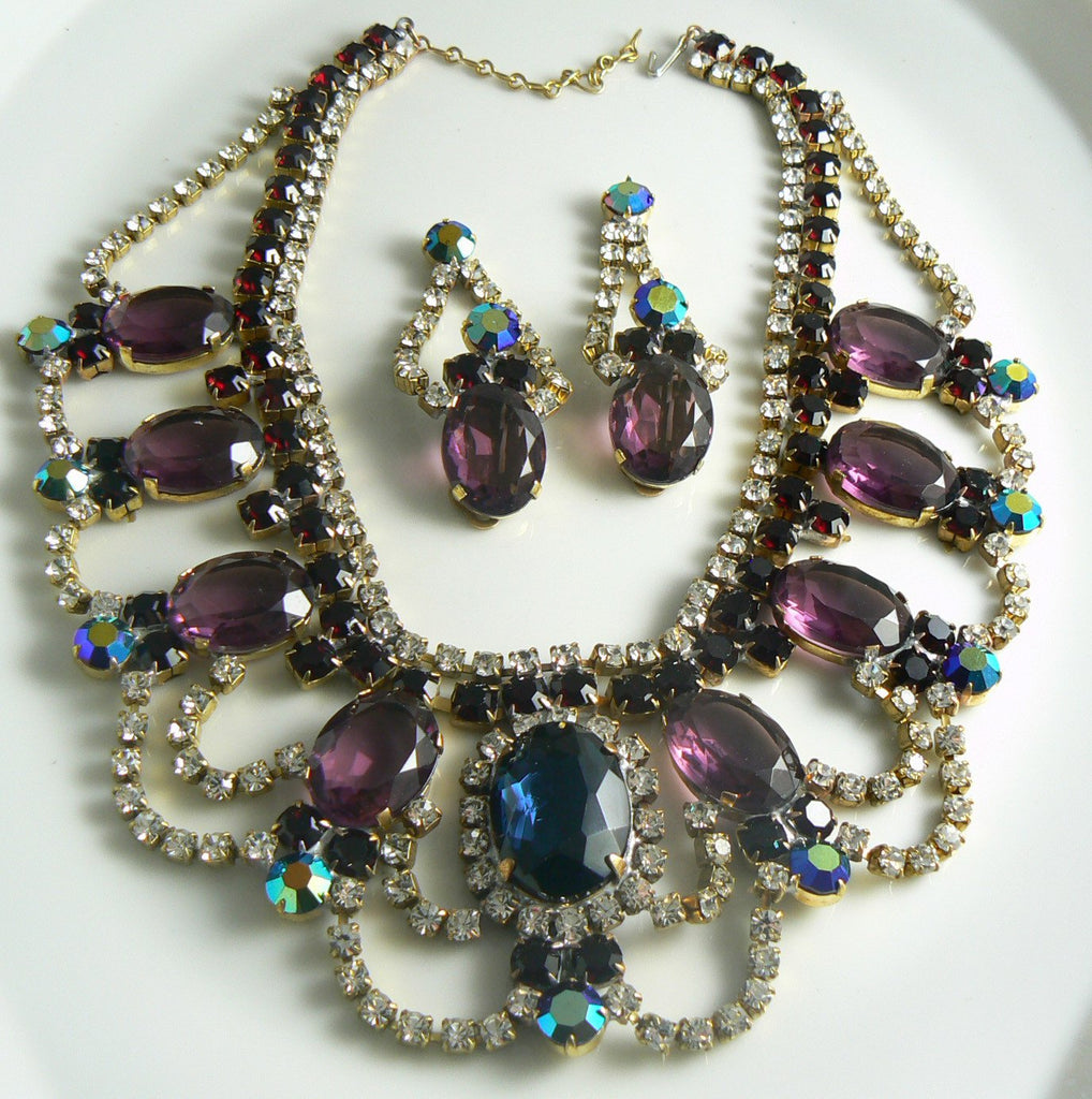 Czech Glass Statement Amethyst Necklace Earrings - Vintage Lane Jewelry