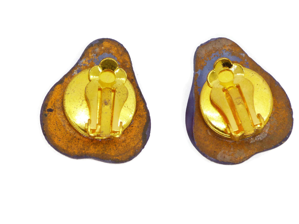 Molded Glass Pear Berry Clip On Earrings - Vintage Lane Jewelry