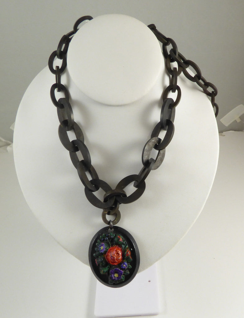Antique Victorian Mourning Gutta Percha Painted Floral Pendant Necklace - Vintage Lane Jewelry